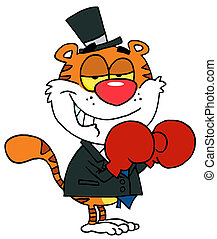 Boxing Tiger Wearing Red Gloves - Cartoon Character Happy...