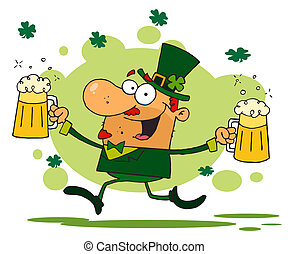 Leprechaun With Two Pints of Beer