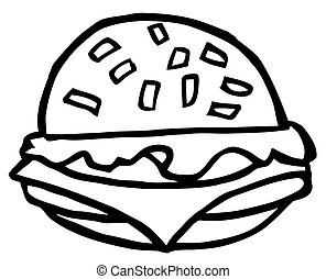 Outlined Cartoon Cheeseburger - Outlined Cheeseburger...