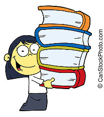 Asian Girl With Books - Smart Oriental School Girl Carrying...