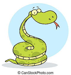 Coiled Happy Viper  - Cartoon Coiled Happy Viper,background