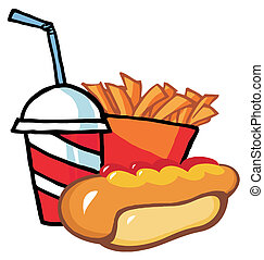 Hot Dog With French Fries And Drink - Fast Food Hot Dog...