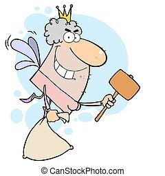 Tooth Fairy With A Mallet And Bag