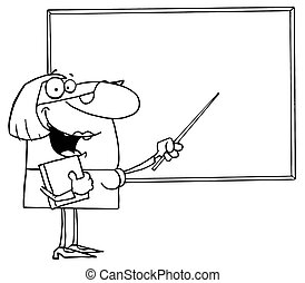 Outlined Female Teacher Pointing To A Blank Chalkboard