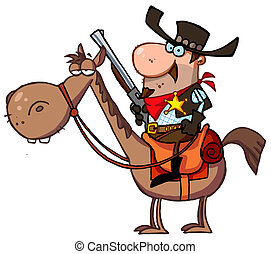 Western Sheriff On A Horse - Cartoon Character Sheriff With...