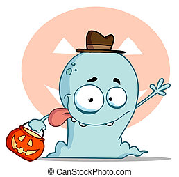 Lucky Ghost Goes Trick Or Treating - Goofy Blue Toothy Ghost...