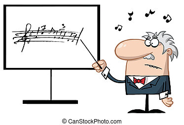 Senior Music Teacher Pointing To A Music Board