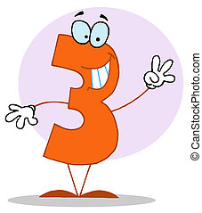 Funny Cartoon Numbers-3 - Friendly Number 3 Three Guy