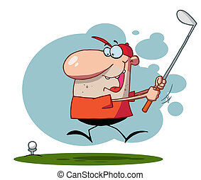 Guy Swinging His Golf Club - Energetic Toon Guy Swinging His...