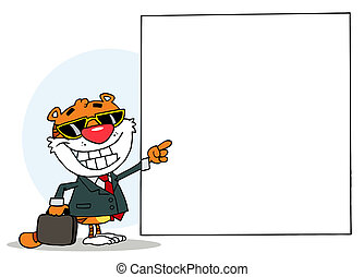 Tiger Character Pointing To A Blank