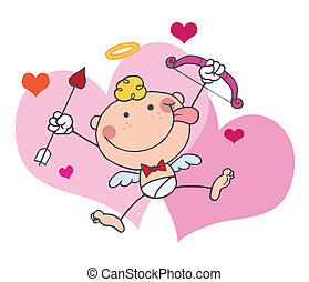 Stick Cupid In Front Of Hearts, Holding Up A Bow And Arrow