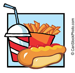 Hot Dog With French Fries And Cola