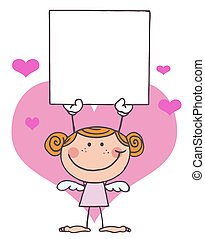 Stick Cupid Girl with Banner