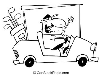 Outlined Golfer Guy Driving A Cart - Outlined Happy Golfer...