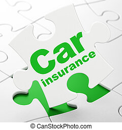 Insurance concept: Car Insurance on puzzle background -...
