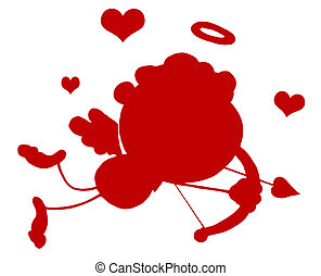 Red Silhouetted Stick Cupid Flying With Hearts