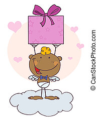 Black Stick Cupid Holding Up A Gift