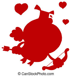 Solid Red Silhouette Of A Pig Cupid