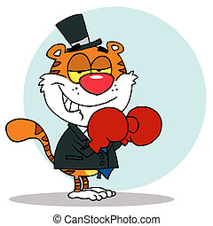 Tiger Wearing Red Boxing Gloves