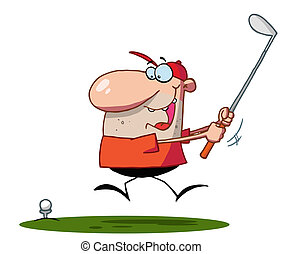 Lucky Man Swings Golf Club - Energetic Caucasian Man Running...