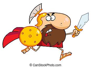macho, Spartan, gladiador, espada