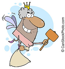 African American Tooth Fairy With A Mallet And Bag
