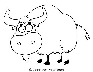 Black And White Yak - Cartoon Character Animal-Yak