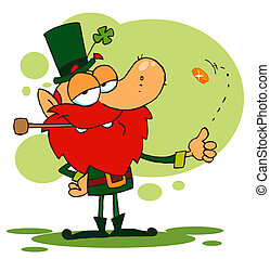 Leprechaun Playing with a Gold Coin - Happy Leprechaun...