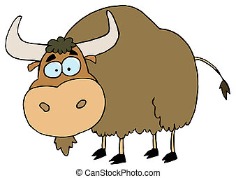 Brown Yak  - Cartoon Character Animal Yak