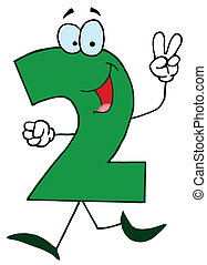 Cartoon Numbers-2 - Friendly Green Number 2 Two Guy