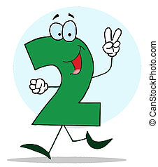 Friendly Number 2 Two Guy - Cartoon Character Happy Numbers...