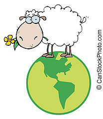 White Sheep Standing On A Globe, Carrying A Flower In Its...