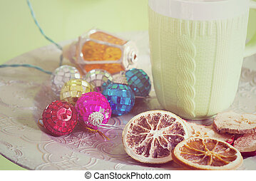 Cup and cuted fruits, retro toned - Cup and cuted fruits on...