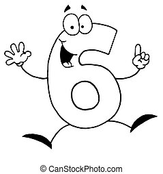 Outlined Funny Cartoon Numbers-6
