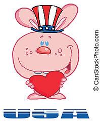 American Bunny Standing Over USA