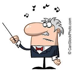 Senior Conductor Waving A Baton - Orchestra Conductor Holds...