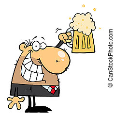 Man Celebrating a Pint of Beer - Caucasian Businessman...