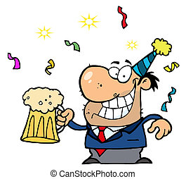 Businessman Celebrating At A Party - Drunk New Years Man...