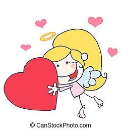 Cupid Girl Flying With Heart