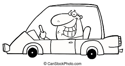 Outlined Grinning Man Driving A Car