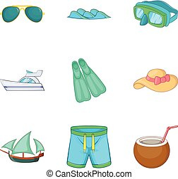 Exploring the seabed icons set, cartoon style - Exploring...