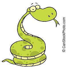 Green Happy Viper - Cartoon Coiled Happy Viper