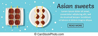 Asian sweets banner horizontal concept. Flat illustration of...