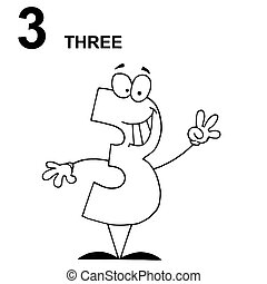 Clip Art 3 Clipart number 3 illustrations and clipart 6236 royalty free friendly outlined three guy with text