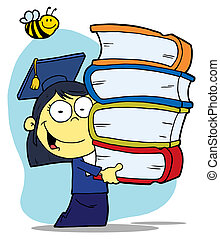 Girl Carrying A Stack Of Books - Bee Over An Asian Graduate...
