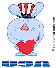 Blue American Bunny Standing