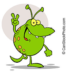 Green Alien Smiling - Spotted Green Alien Smiling And...