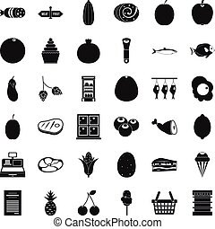 Meat icons set, simple style - Meat icons set. Simple style...
