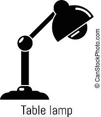 Table lamp icon, simple black style - Table lamp icon....