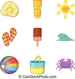 Hot weather icons set, cartoon style - Hot weather icons...